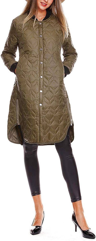 Button Down Side Split Pocket Zipper Womens Long Sleeves Cotton Coat
