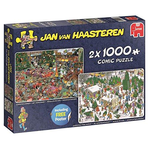 Jan Van Haasteren Christmas Dinner & Christmas Tree Market 2 x 1000 pcs Puzzle - Rompecabezas (Puzzle Rompecabezas, Comics, Adultos, Niño/niña, 12 año(s), Interior)