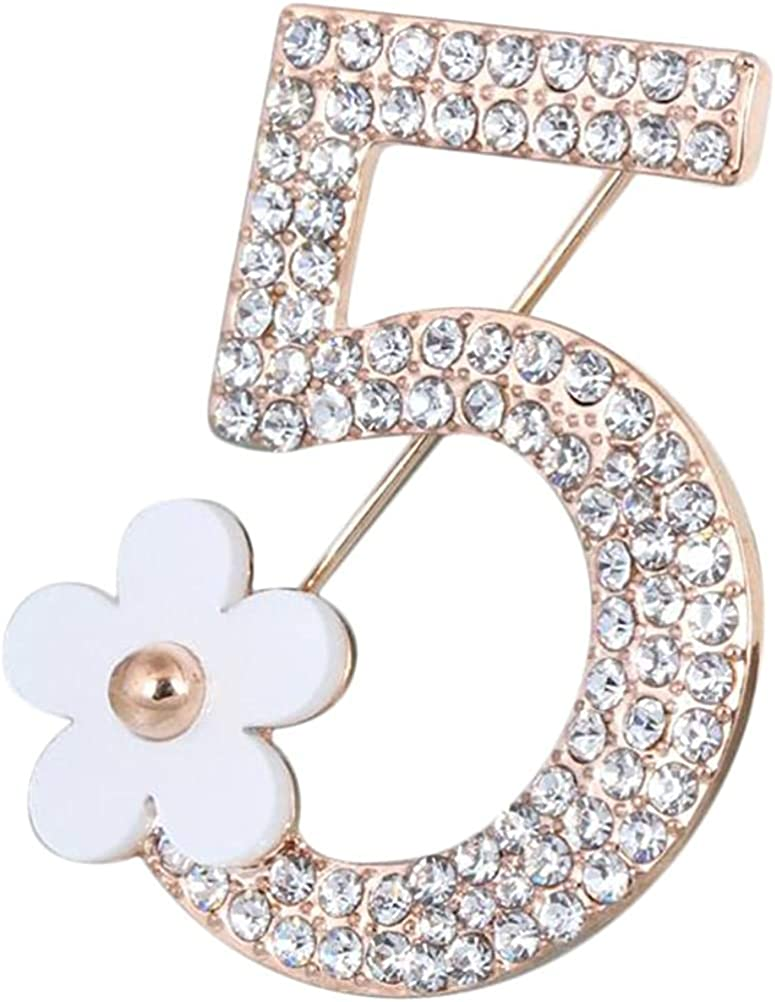 Comelyjewel Brooch Pin Number Five Pin Brooch Corsage Scarf Pins Rhinestones Breastpin for Wedding/Banquet/Bouquet