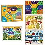 PAPERKIDDO 4 Piezas Puzzles de Madera Educativos Juguetes Bebes,Colorido Rompecabezas de Madera Juguetes de Inteligencia para niños 2-6 años (Mapa del Mundo,Edificios,Animales y Herramientas)
