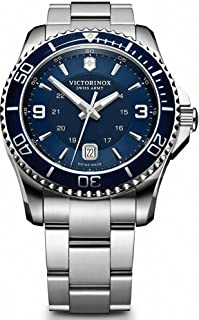 Victorinox - Maverick – Reloj de cuarzo, Acero inoxidable, Azul, 43 mm, día, 10 ATM
