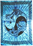 Lebensfreudeladen Tagesdecke Baumwolle - Drachen (Yin und Yang) 240 x 210cm Blau