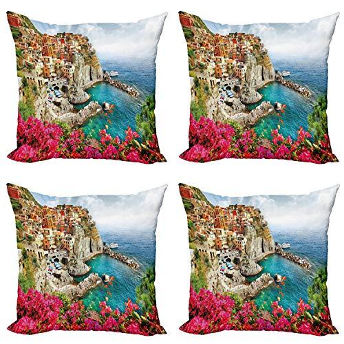 ABAKUHAUS Italia Set de 4 Fundas para Cojín, Cinque Terre Coast Beach, Estampado Digital en Ambos Lados y Cremallera, 50 cm x 50 cm, Multicolor