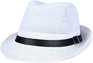 Men Mesh Straw Summer Fedora Hat Short Brim Beach Sunhat Breathable Panama Cap