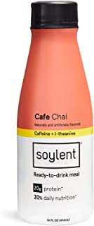 ChaiSoylent Meal Replacement Shake, Cafe Chai, Complete Meal in a Bottle, 20g Plant Protein, 14 oz Bottles, 12 Pack(Packaging may vary)