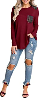 Womens Long Sleeve Plaid Shirt Elbow Patch Color Block Tops Pocket Knit Tee