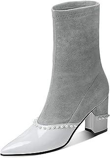 d5d53ec3f94e online barato YZ-zapatos botas Altas de Invierno Mujer gris Moda ...