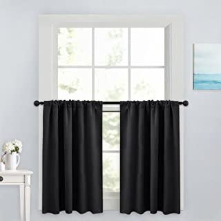 PONY DANCE Blackout Curtain Tiers – Window Treatment Rod Pocket Home Decor Small..
