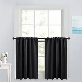 PONY DANCE Blackout Curtain Tiers - Window Treatment Rod Pocket Home Decor Small Panels Valances for Nursery/Bay Windows Bathroom, 42 x 36 inch, Black, 2 Pieces