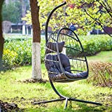 Swing Egg Chair with Stand Indoor Outdoor Patio Wicker Hanging Chair Aluminum Frame Swing Chair Patio Egg Chair with UV Resistant Cushion & Pillow- 350 lbs Weight Capacity (Dark Grey)