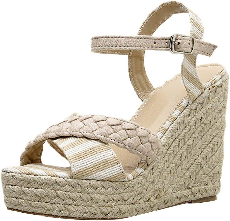 T-JULY Women High Heels shoes Wedge Sandals Ladies Casual Pumps Buckle Strap Striped Cross Platform Peep Toe shoes
