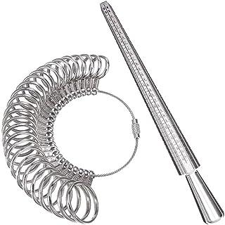 Faguo 3 en 1 bague bijoux kit doutils anneau de mesure sizer mandrin bijoutiers marteau en caoutchouc