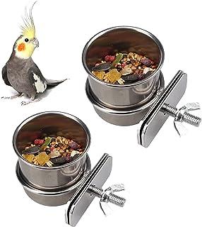Gamelle à Suspendre en Acier Inoxydable pour Oiseaux 2 Pièces Bol d'alimentation pour Oiseaux avec Support de Serrage pour...