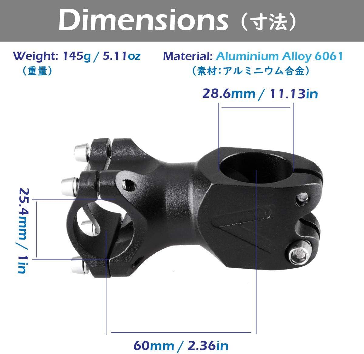 Azarxis V/ástago de Manillar de Bicicleta MTB 31,8mm 25.4mm Aleaci/óm de Aluminio Potencia para Ciclismo Bicicleta de Monta/ña de Carreras