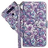 MRSTER LG V40 ThinQ Handytasche, Leder Schutzhülle Brieftasche Hülle Flip Hülle 3D Muster Cover mit Kartenfach Magnet Tasche Handyhüllen für LG V40 ThinQ. YX 3D - Peacock Flower