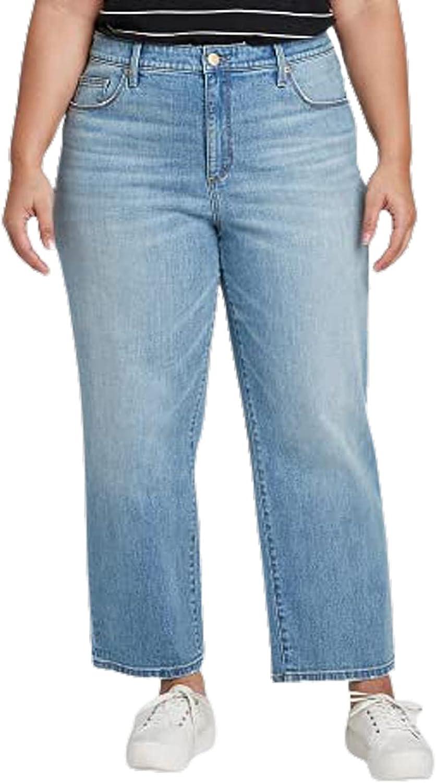 Ava & Viv Women's Plus Size High-Rise Ankle Length Straight Leg Jeans 16W R Blue