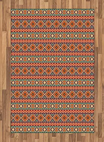 ABAKUHAUS aztekisch Teppich, Peru-Volkspastellmotive, Deko-Teppich Digitaldruck, Färben mit langfristigen Halt, 120 x 180 cm, Mehrfarbig