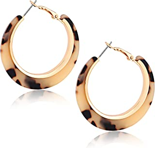 Acrylic Hoop Earrings for Women Tortoise Resin Earrings Bohemia Statement Dangle Earring Studs for Girls