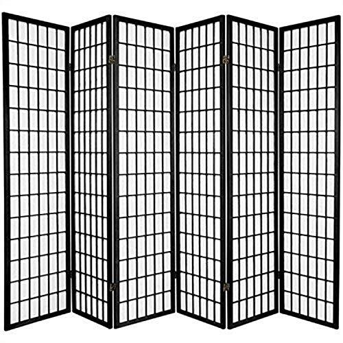 Oriental Furniture 6 ft. Tall Window Pane Shoji Screen - Black - 6 Panels