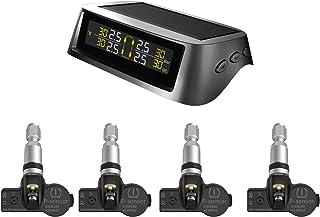 KKmoon TPMS Reifendruckkontrollsystem Solar Wireless und USB Lade Reifendruckmesser mit 4 Interne Sensoren LCD Display Alarmfunktion Temperatur Anzeige für Auto