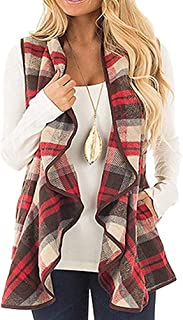Womens Casual Lapel Open Front Plaid Vest Sleeveless Shawl Cardigan Coat with Pockets