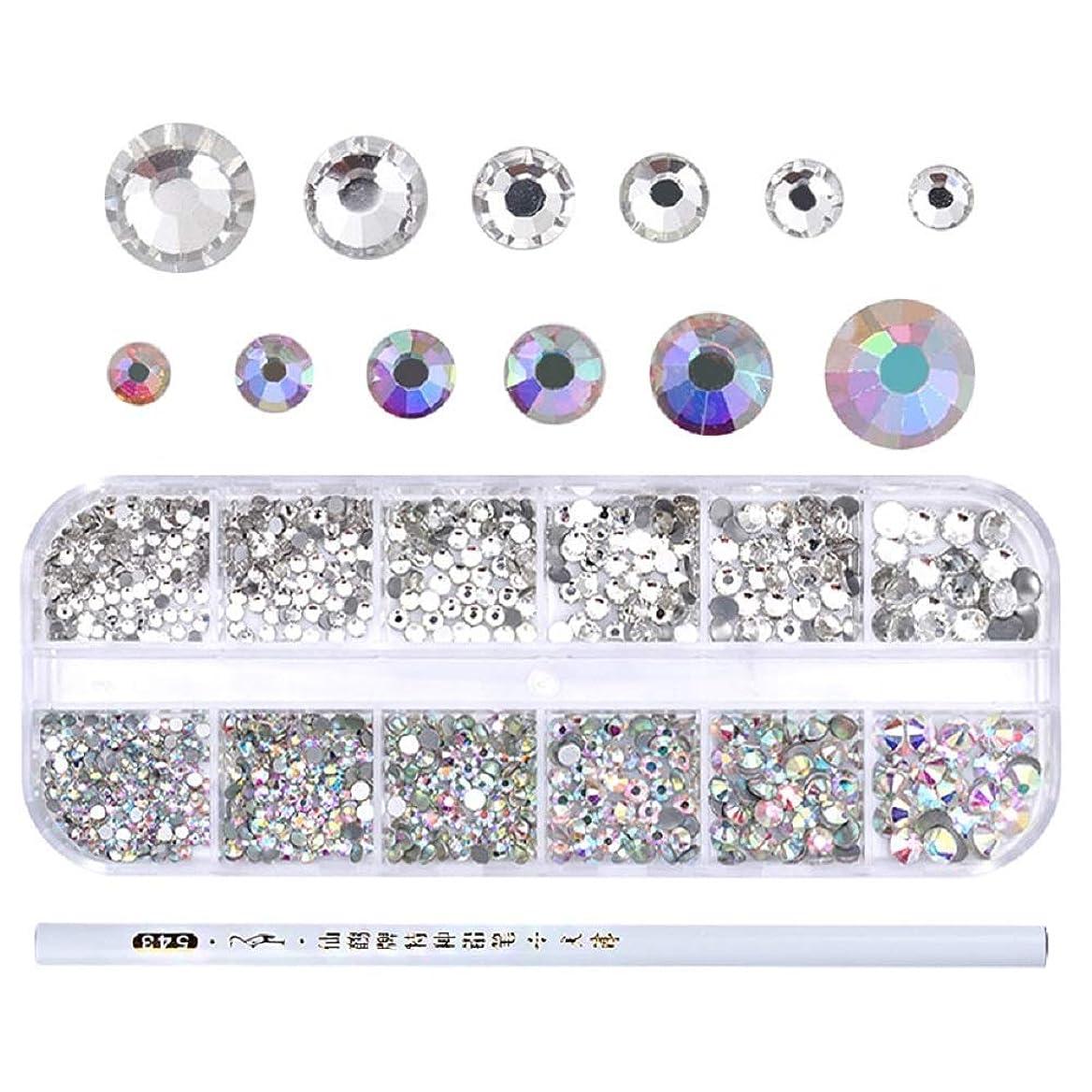 本土実験ムス1Box AB Color Nail Rhinestone with Dotting Pen Clear Flat Bottom Multi-size Crystals Manicure Nail Art 3D Decoration Strass Gem ABカラーネイルラインストーンとドットペンクリアフラットボトムマルチサイズクリスタルマニキュアネイルアート3Dデコレーションストラスガム