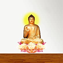 Rawpockets 'Lord Buddha Peaceful on Lotus ' Wall Sticker (PVC Vinyl, 70 cm x 90cm)