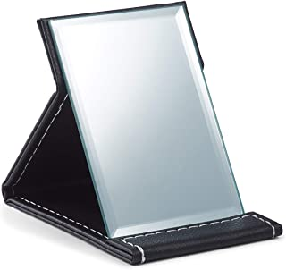 OMIRO Travel Folding Makeup Mirror Portable PU Leather Mirror with Adjustable Standing (S, Black)