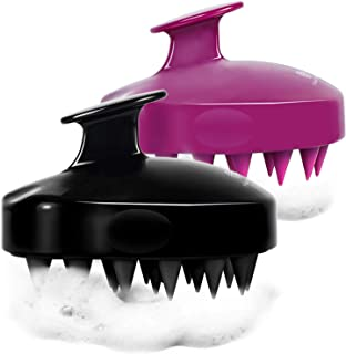 2-Pack Hair Scalp Massager Shampoo Brush, Heeta Upgraded Wet and Dry Hair Scalp Brush with Soft Rubber (Black & Purple)