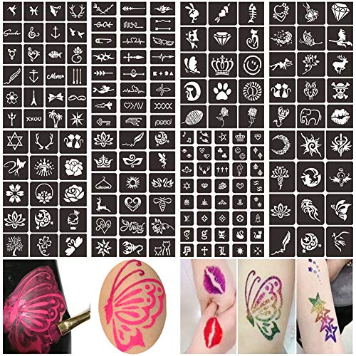 Henna Glitter Tattoo Stencils Kit, Face Body Painting Stencils, Temporary Tattoos Stencils for Kids, Adult & Teenagers (8 Sheets)