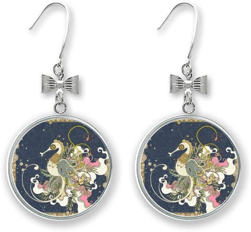 Flower Japan Hippocampus Ukiyo-e Bow Drop Pierced Max 79% OFF Stud Earrings shop