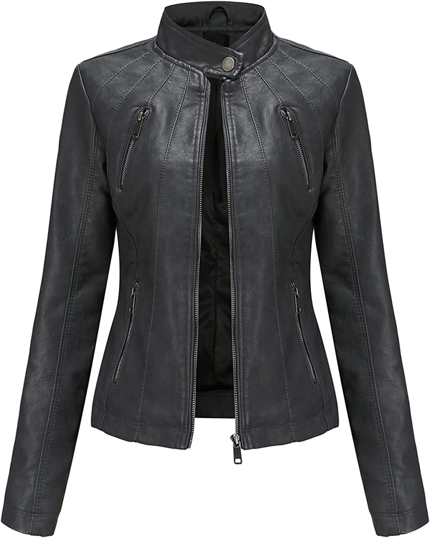 NIDOV Leather Jacket Women Cropped Moto Biker Winter Coat Plus Size