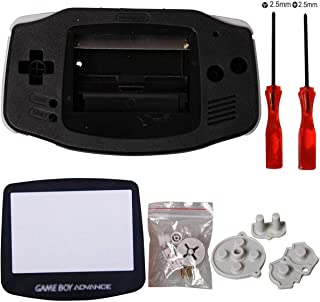 eJiasu GBA Replacement Shell, Full Parts GBA Case Replacement Housing Shell Repair Part for Nintendo Gameboy Advance GBA (1PC GBA Shell Black with Lens and Screwdriver)