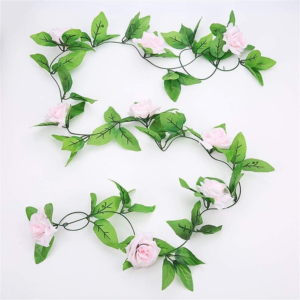 Jun7L Artificial Rose Vines Fake Silk Flowers Rose Guirnaldas Rose Rose Ivy Plants for Bodas Home Office 2PCS (Color : Light Pink)