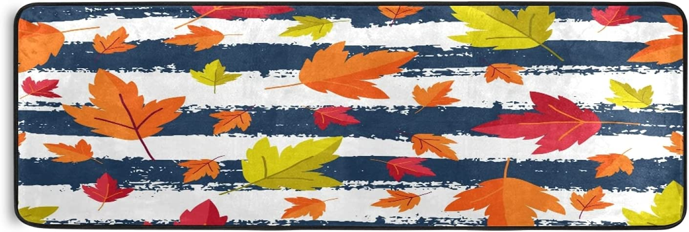 Autumn Maples Blue Strips Runner Large discharge sale Rug Sale Orange Fall Kitc Leaves Red