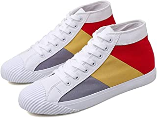 Yong Ding Men Canvas Shoes Splice Design High Top Flat Espadrilles Comfy Casual Flats Lightweight Sneakers