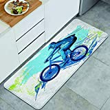 Home Decor Personalized Anti-Fatigue Kitchen Floor Mat,BMX of Sportsman Cycling Extreme Bike Freestyle Triathlon Bicycle Cycle Speed,Comfort Standing Area Rug Carpet Non Slip,47.2' x 17.7'