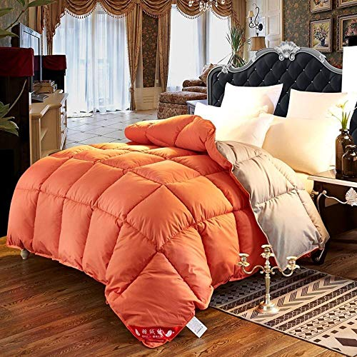 CHOU DAN Small down quilt goose down quilt available for clearance 95 white goose down anti-bacterial dormitory air conditioning quilt-2.2X2.4 3000g_M23-Orange+Gray
