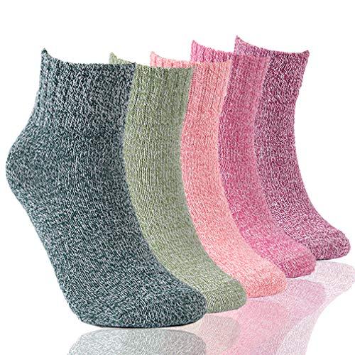 RTZAT Womens Vintage Style Colorful Cotton Knit Yarn Warm Cozy Crew Socks, 5 Pairs
