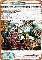 カナダ太平洋風光明媚なドーム車の金属看板レトロな壁の装飾ティンサインバー、カフェ、家の装飾