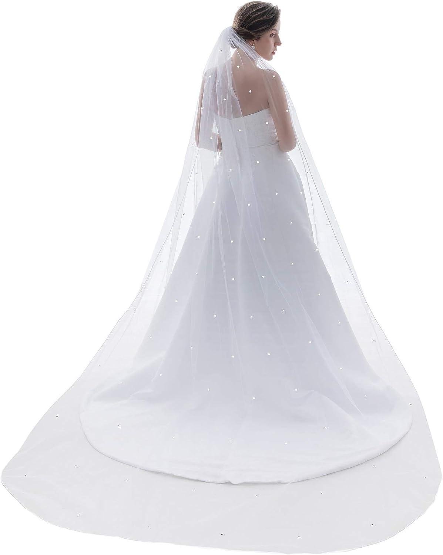 1T 1 Tier Star Light Rhinestone Crystal Veil Cathedral Length 108
