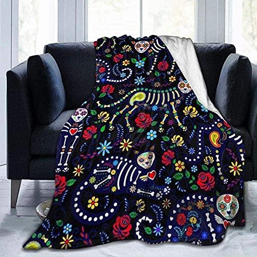Manta de calavera con diseño de calavera de azúcar de gato, ligera, supersuave, cálida, cómoda, manta de forro polar para sofá, cama, sofá o sillón, 152 x 127 cm