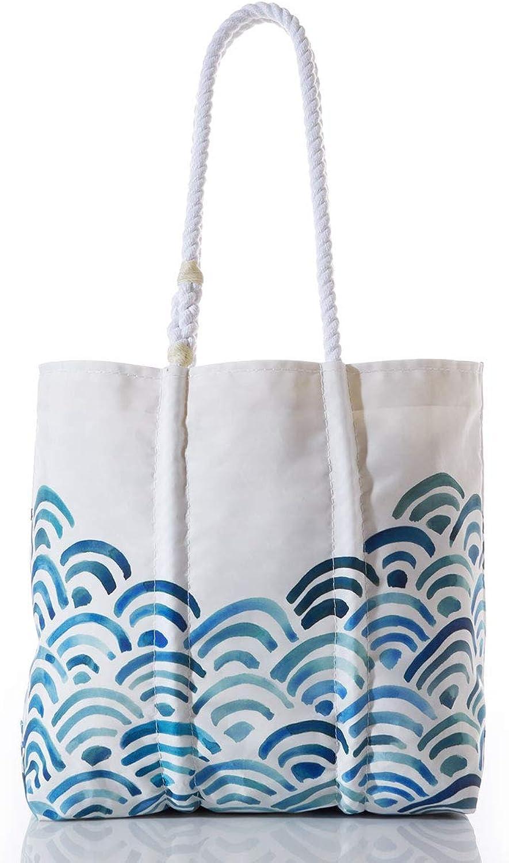 Sea Bags Recycled Sail Cloth Watercolor Waves Tote Medium