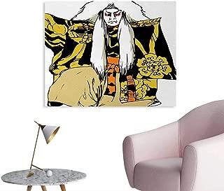homehot Kabuki Mask Poster Paper Japan Traditional Performing Arts Character Actor Figure Illustration Print Corridor/Indoor/Living Room Multicolor W36 xL32
