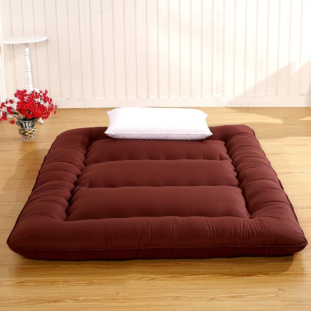 画面行列無数の日本語 床のマットレス ポケットコイルマットレス, 厚く マットマット パッドを睡眠 式 マットレス 男 の 寮 マットレス パッド フロアラウンジャー 枕 ベッド-コーヒーの色 90x200x8cm