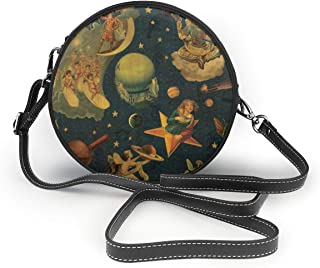 RichardJCrosby Womans Fashion Smashing Pumpkins Mellon Collie & The Infinite Sadness Round Crossbody Leather Circle Shoulder Wallet Gift