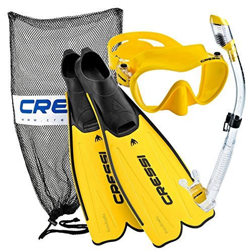 Cressi Rondinella Full Foot Mask Fin Snorkel Set with Bag, Yellow, Size 12/13-Size 47/48