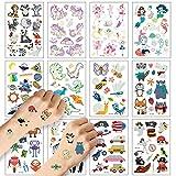 Tatuajes temporales para niños ZEHROK 12 hojas de pegatinas temporales luminosas con diseño de tema de hadas dinosaurios unicornios y animales brilla en la oscuridad para fiestas de cumpleaños