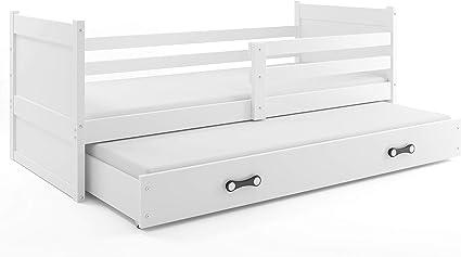 Cama nido RICO, 200x90, color blanco, (colchones 200x90 y 190x80 gratis!) somieres y cajón incluidos! paneles BLANCO