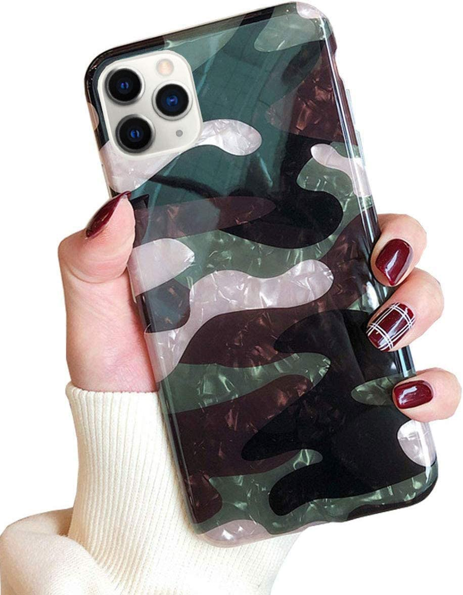 J.west Case for iPhone 11 Pro 5.8 inch, Luxury Sparkle Translucent Army Green Soft TPU Silicone Cover Protective Case for Girls Women Camouflage